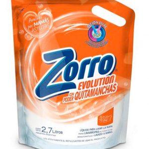 Jabón Líquido Zorro Evolution con Poder Quitamanchas